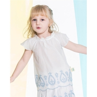 迪士尼童装女童刺绣套衫衬衫娃娃衫公主韩版短袖T恤棉质夏装2018