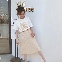 连衣裙女夏季学生时尚印花短袖T恤网纱半身裙