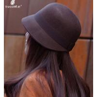 新款女士毡帽韩版百搭宽檐羊毛呢帽子圆顶 小礼帽
