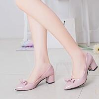5厘米高跟鞋女粗跟白皮鞋女中跟5公分蝴蝶结尖头百搭工作鞋大码单