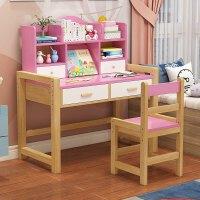 儿童学习桌书桌实木小学生家用写字桌椅套装男孩女孩写字台可升降