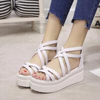 凉鞋女夏季新款坡跟白色厚底露趾松糕韩版学生凉鞋女夏潮