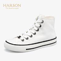 【 立减120】哈森 2019春夏新款韩版高帮帆布鞋女 轻便板鞋 运动休闲鞋HS97177