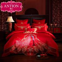 婚床全棉被套婚庆四件套结婚床上用品新婚纯棉六件套刺绣床品大红
