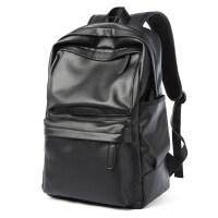 PU皮质时尚男士双肩包潮流男包大容量旅行电脑背包简约中学生书包
