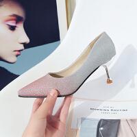时尚女鞋性感亮片渐变色百搭单鞋2018秋冬新款尖头高跟鞋细跟猫跟 粉红色 6cm
