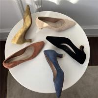 优雅气质OL工装鞋简约款复古低跟绒面V剪裁低帮鞋单鞋女鞋