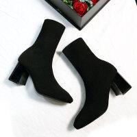 2019冬季新款毛线针织靴女中筒靴弹力靴粗跟袜子靴方头高跟短靴女