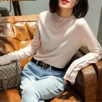 打底毛衣女柔软薄款2018秋季新款宽松显瘦撞色半高领针织衫女
