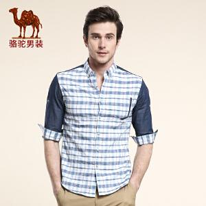 骆驼男装 春季新款纯棉五分袖衬衫 日常休闲修身青年男薄衬衣