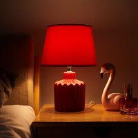 台灯卧室床头创意 陶瓷简约现代调光结婚房陪嫁长明台灯