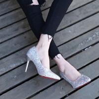 女高跟鞋细跟公主性感亮片韩版9cm透气百搭浅口单鞋银色伴娘皮鞋