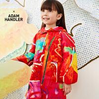 【秒杀价:360元】马拉丁童装女大童外套春装2020年新款中国风红色图案中长风衣