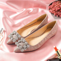 平底鞋女2018新品百搭韩版新娘婚鞋孕妇平跟鞋尖头亮片方扣单鞋 粉色