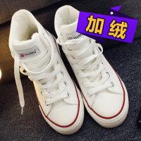 加绒高帮帆布鞋女秋冬季学生运动板鞋韩版百搭高邦二棉鞋