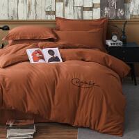 棉床上用品纯色加厚磨毛四件套220x240被套2.2x2.4x2x2.3米Y