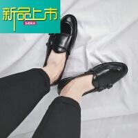 新品上市18网红英伦原宿小皮鞋韩版懒人套脚鞋社会潮男鞋