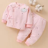 新生儿衣服冬季和尚服厚款婴儿夹棉保暖衣套装0-3月宝宝棉衣