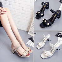 新款露趾凉鞋女夏中跟韩版外穿一字凉拖鞋子女罗马女士高跟鞋
