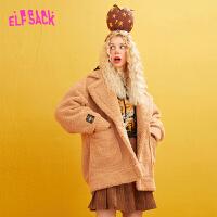 【2件2折:310】【再享满399减80券】妖精的口袋刺绣羊羔毛呢大衣2019冬季新款女小个子中长款呢子外套