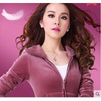 女长袖休闲卫衣大码跑步两件套 女款新款韩版休闲金丝天鹅绒运动服套装