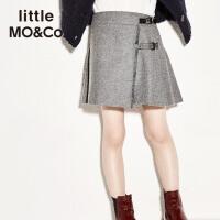littlemoco女童秋装新款PU扣袢毛须边折纸羊毛呢百褶半身裙