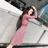 新年特惠法式少女复古很仙长裙法国小众egg风维多利亚宫廷针织连衣裙秋冬 红白格子针织长裙