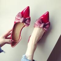 小皮鞋单鞋红色婚鞋瓢鞋子女2018新款秋季百搭平底鞋女尖头软妹