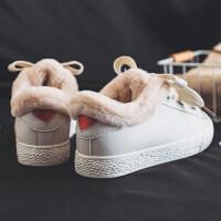小白鞋女2018百搭韩版港味复古鞋帆布鞋女冬季加绒板鞋女 5223 加绒