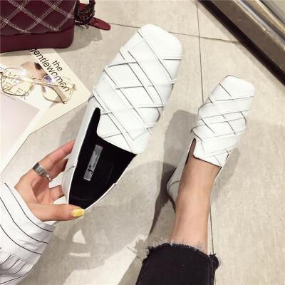 单鞋女鞋2019春季新款时尚复古英伦方头平底低跟乐福鞋深口单鞋