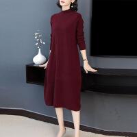 2019新款羊毛针织连衣裙女秋冬装新款修身显瘦毛衣打底裙酒红色中长裙 紫红色