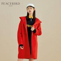 红色连帽单排扣双面呢大衣女中长款春装2019新款直筒毛呢外套女