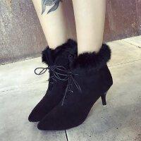 2017冬季新款女鞋加绒保暖显瘦英伦风中跟高跟鞋马丁靴短筒绒面女