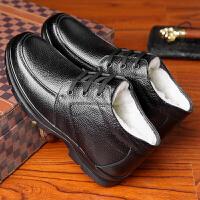 棉鞋男冬季保暖加绒加厚老头棉皮鞋防水防滑老人爸爸鞋