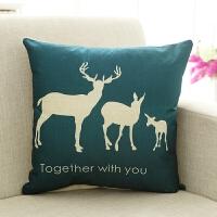 沙发抱枕套不含芯靠垫汽车靠枕客厅腰枕床头大靠背正方形棉麻腰靠 白色 三只小鹿
