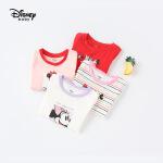 【99元3件】迪士尼童装快乐星球女童针织撞色短袖T恤夏季上衣新款