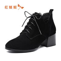 红蜻蜓女尖头欧美站前系带靴中高跟单靴冬季粗