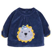 秋冬宝宝灯芯绒加厚罩衣防水儿童防脏护衣条绒