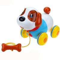 智能机器狗拉线电动小狗狗走路会唱歌仿真益智牵绳宠物小狗儿童玩具 音乐拉绳狗 限量送电池+螺丝刀