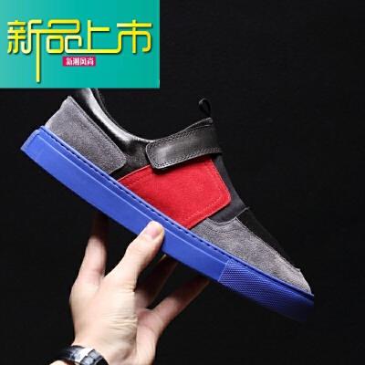 新品上市18新款英伦百搭男鞋翻毛牛皮户外休闲鞋真皮拼接男士板鞋 浅灰色  新品上市,1件9.5折,2件9折