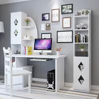 北欧实木简约家用台式电脑桌多功能带书架 书桌书柜组合松木写字桌学习桌