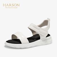 【秋冬新款 限时1折起】哈森 2019夏季新款牛皮革坡跟平底鞋女HM97501