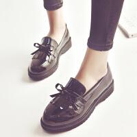 女鞋秋春单鞋学生韩版英伦新款懒人鞋女平底一脚蹬小皮鞋漆皮 黑色 初见&C-669