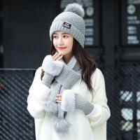 围巾女秋冬韩版加绒防寒针织套头帽户外骑车围脖手套帽子套装