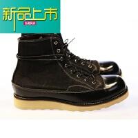 新品上市日系时尚美式复古真皮帆布工装马丁短靴休闲高帮板鞋男女冬季韩版 1950