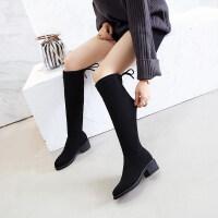长筒靴子女秋冬季2019新款粗跟中跟长靴高筒弹力靴后系带骑士靴女