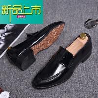新品上市韩版时尚休闲鞋男潮鞋英伦皮鞋春季尖头一脚蹬男鞋潮流型师鞋子