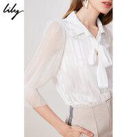 【2件4折到手价:239.6元】 Lily20夏新款女装很仙系带荷叶边复古气质白色条纹宽松衬衫8924