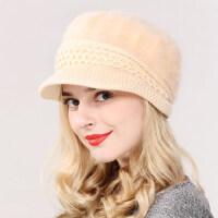 帽子 韩版兔毛帽 纯色鸭舌贝雷帽保暖针织毛线帽 时尚