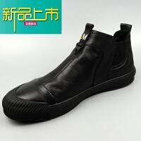 新品上市18秋冬季新款日常休闲鞋男潮时尚百搭真皮透气软底舒适高帮皮鞋 黑色